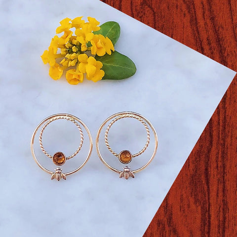 Honey Bee + Citrine Earrings