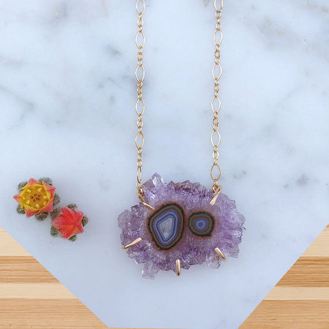 Twin Amethyst Cluster Necklace
