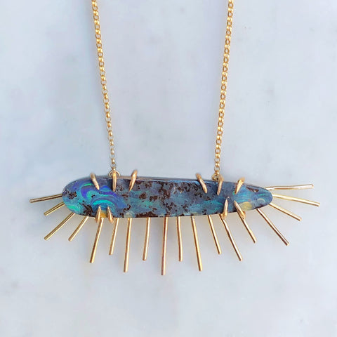 Australian Boulder Opal Necklace [Ocean Sunrise]