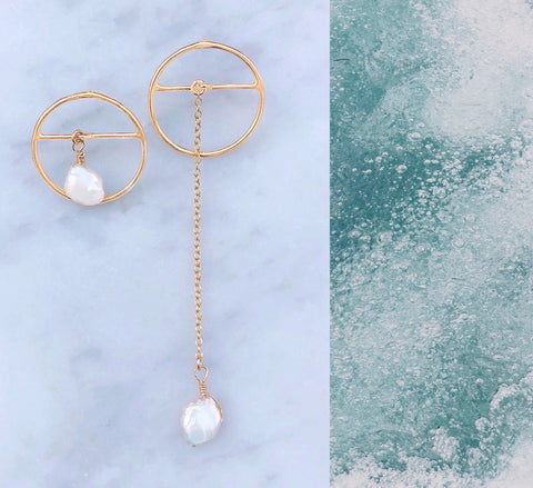 Costa Mesa Asymmetrical Pearl Drop Earrings