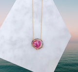 Watermelon Tourmaline Necklace [Rose Cut]