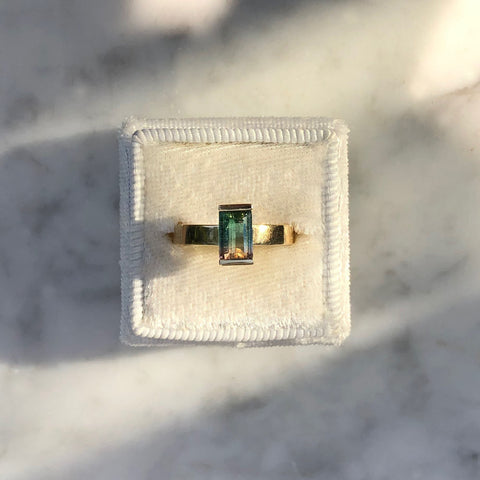 14k Solid Gold + Watermelon Tourmaline Ring