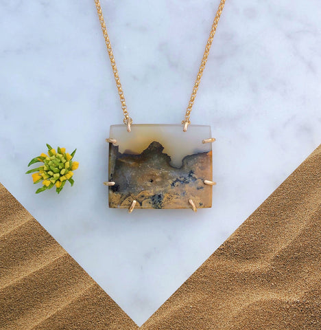 Agate Jasper Necklace [Mojave Desert Sunset]
