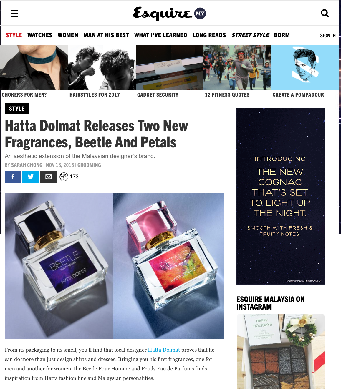 Esquire Malaysia Hatta Dolmat Fragrance Perfume Beetle Petals