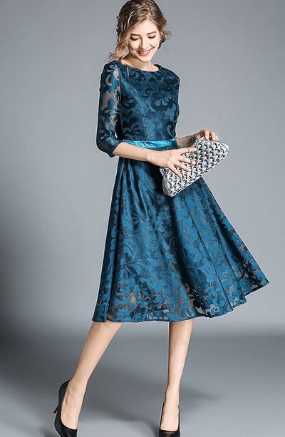 Shellymith Floral Lace A-line Dress