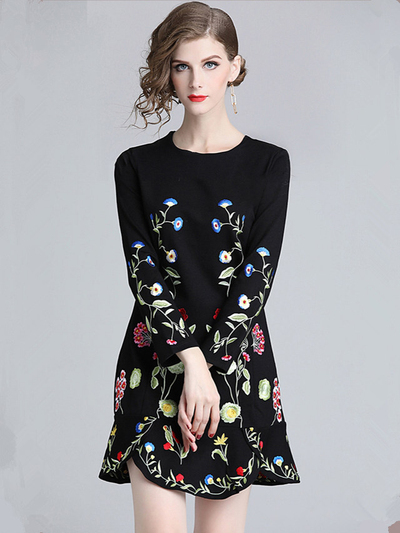 Myrtle Round Neck Floral Embroidery A-line Dress