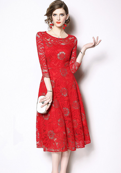 Berta Floral Hollow Out Lace Dress