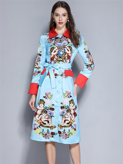 Babette Single-breasted Tie Waist Floral Coat Dress
