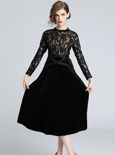 Aisa High Waist Lace Splicing Velvet Long Dress