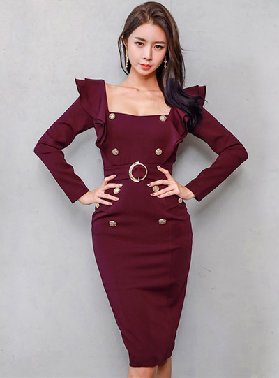 Sharyn Square Collar Double-breasted Slim Dress