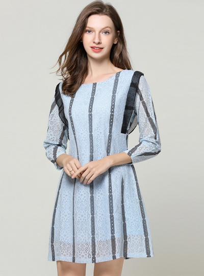 Muryel Round Neck Stripes Lace A-line Dress