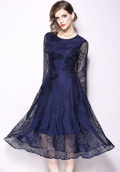 Barbra Slim Waist Butterfly Floral Lace Dress