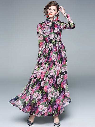 Vonnie Tie Collar High Waist Floral Maxi Dress