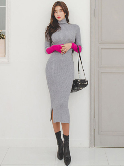 Renae Stand Collar Color Block Slim Knitting Dress
