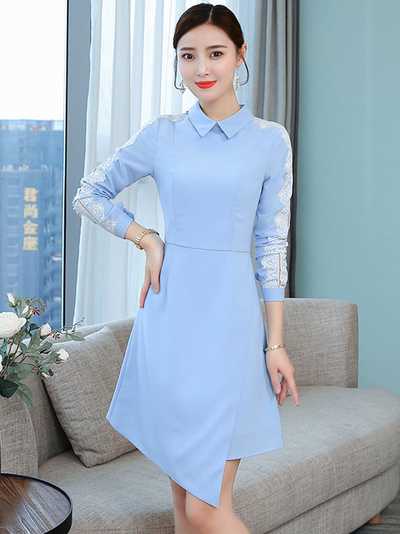 Chacee Doll Collar Lace Splicing Slim Dress