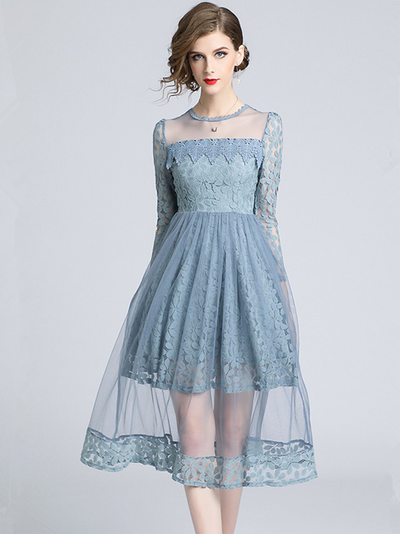 Lica High Waist Gauze Splicing Lace Floral Dress
