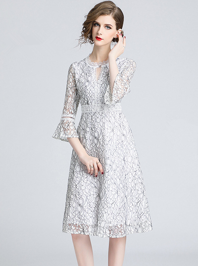 Carmela Flare Sleeve Lace A-line Dress