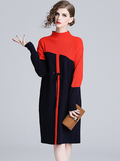 Lindsay Color Block Tie Waist Loose Sweater Dress