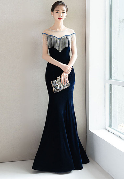 Ananda Tassel Velvet Fishtail Long Evening Dress
