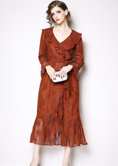 Chrissie Flouncing Collar Tie Waist Lace Long Dress