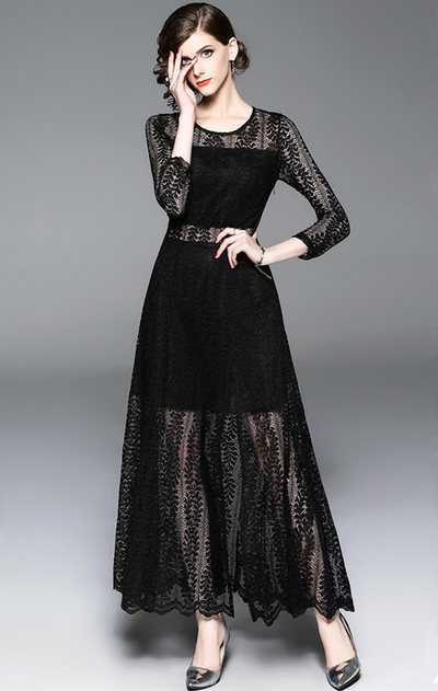 Fem Lace Transparent Split Maxi Dress