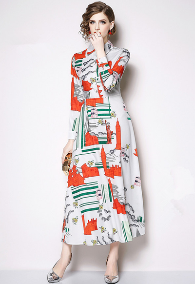 Agatha High Waist Printed Maxi Shirt Dress