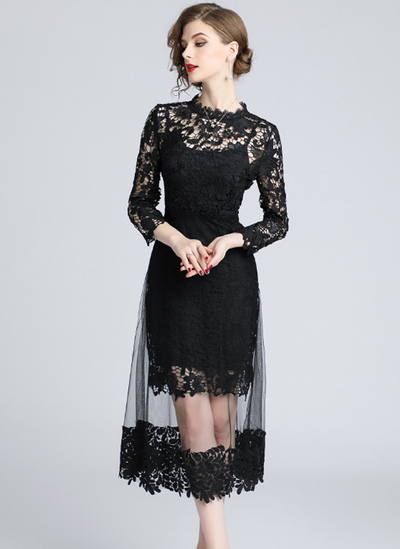 Edyl Lace Floral Hollow Out Gauze Long Dress