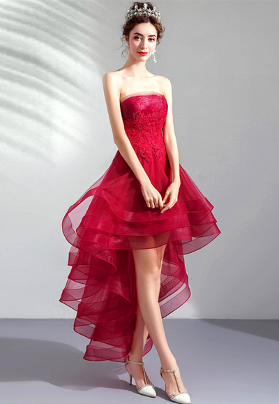Ollie Lace Waist Layered Organza Dovetail Party Dress
