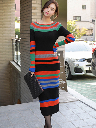 Kaylyn Stripe Bodycon Knitting Dress