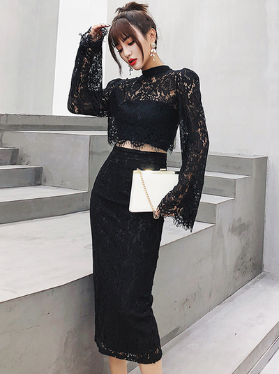 Thelma Flare Sleeve High Waist Lace Slim Dress Set