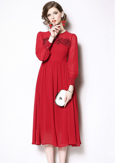 Ray Floral Embroidery High Waist Chiffon Dress