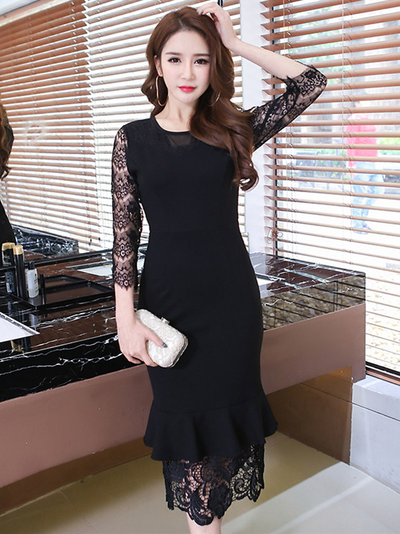 Frannie Round Neck Lace Sleeve Fishtail Skinny Dress