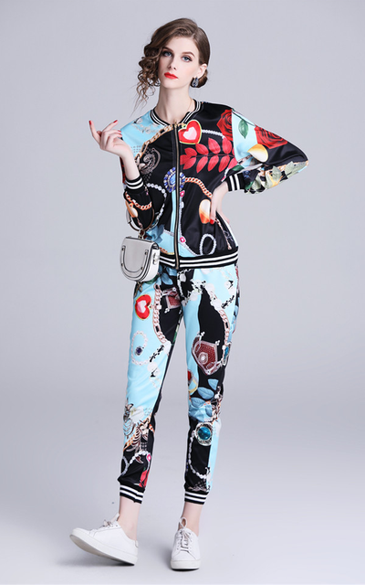 Phebe Color Block Floral Slim Leisure Suit