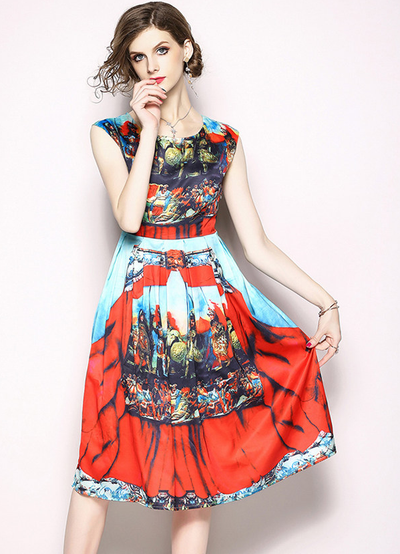 Nana Printed High Waist Pleated Tank Dress