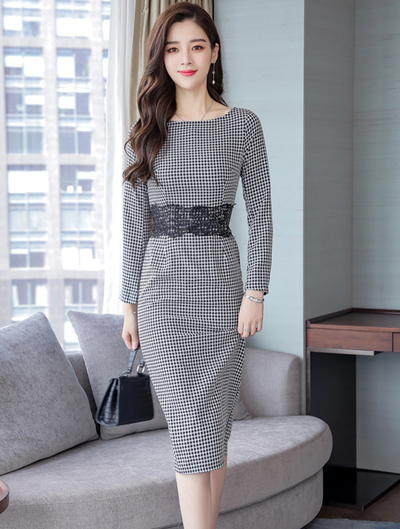 Mitzel Lace Splicing Waist Mini Plaids Dress