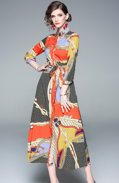 Shawna Shirt Collar Printed Maxi Dress