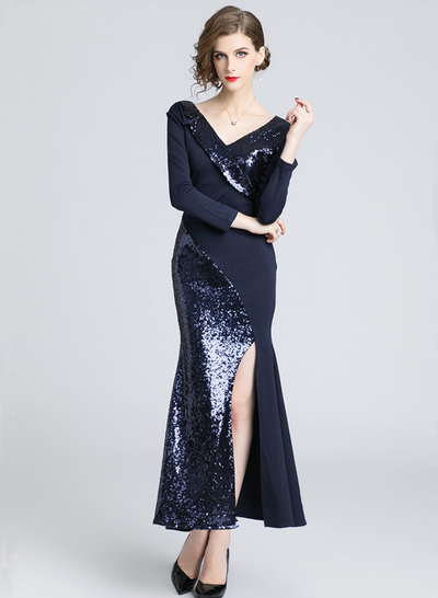Chariza Sequin Splicing V-neck Fishtail Prom Dress
