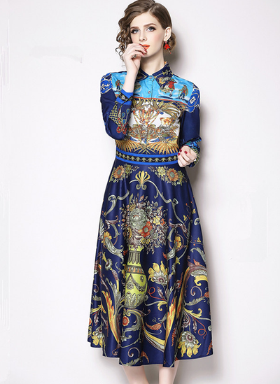 Della High Waist Shirt Collar Floral Maxi Dress