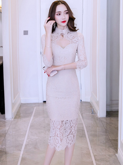 Mathilda Stand Collar Lace Skinny Dress