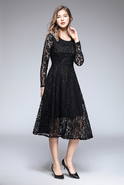 Lyra Round Neck Floral Lace Dress