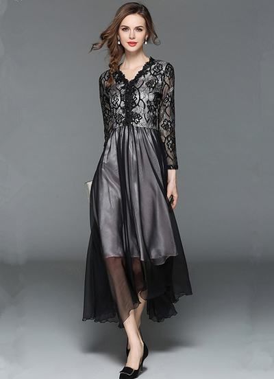 Mitch Lace V-neck Splicing Chiffon Maxi Dress