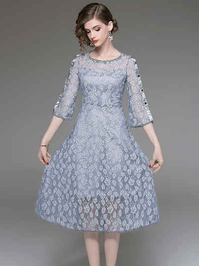 Edcel Flare Sleeve Lace Floral Dress