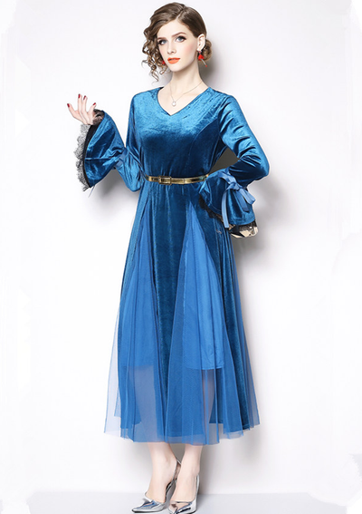 Mina V-neck Flare Sleeve Gauze Splicing Velvet Dress