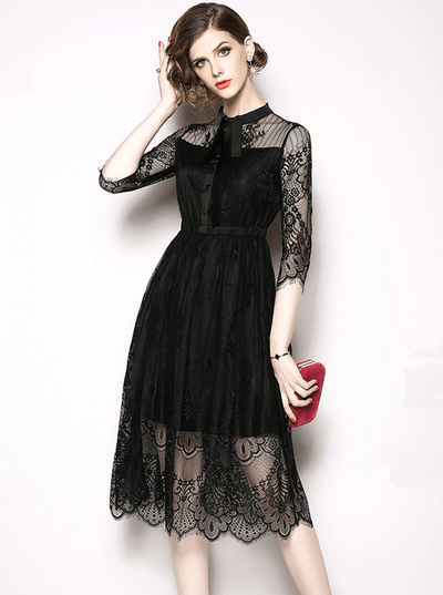 Patricia Tie Collar Lace Floral A-line Dress
