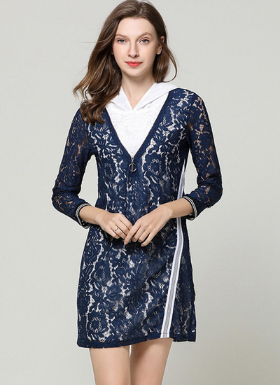Nel Lace Floral Shirt Collar Hooded A-line Dress