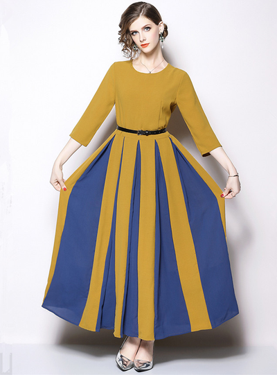 Merriam Color Block High Waist Flouncing Maxi Dress