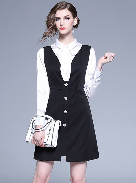 ab92b3695a3b2 Debb Bowknot Collar Blouse with Floral Beads Tank Dress