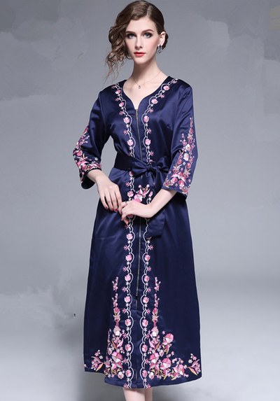 Essa Zipper Open V-nck Floral Embroidery Long Dress