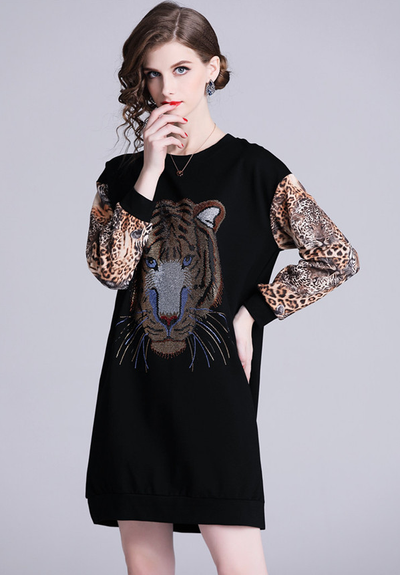 Herietta  Tiger Print Suede Loose Dress