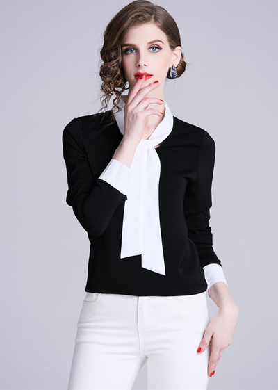 Tilda Color Block Tie Collar Long Sleeve Blouse